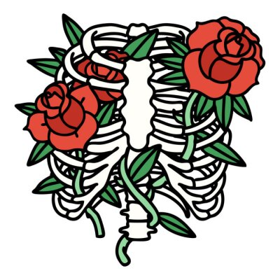 Poster traditional tattoo of a rib cage and flowers