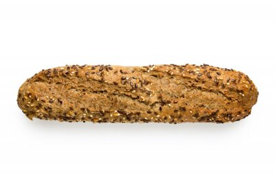 Poster Traditional whole wheat baguette with linseeds and sesame seeds isolated on white. Top view.
