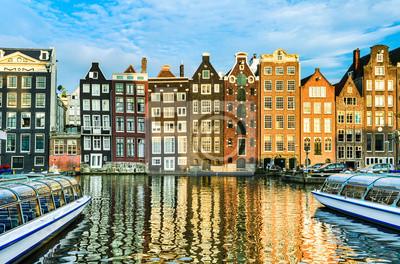 Traditionelle Häuser in Amsterdam, Niederlande