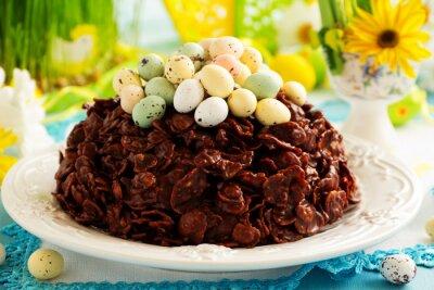 Poster Traditionelle Ostern Kuchen Schokolade mit Schokoladeneiern.