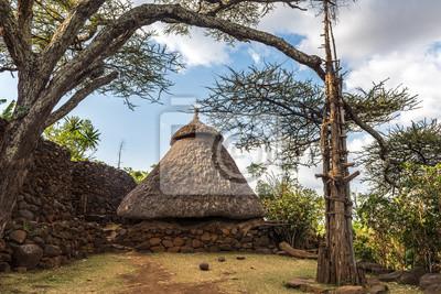 Traditionelles Haus in einem Konso Dorf mit Generationen Baum