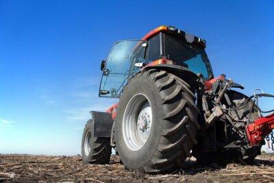 Poster Traktor arbeitet im Bereich sonnigen Tag