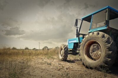 Poster Traktor auf dem Land
