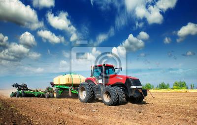 Poster Traktor auf einem Feld