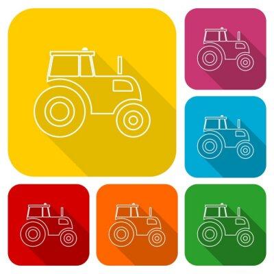 Poster Traktor-Symbole mit langem Schatten gesetzt