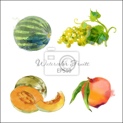Traube, Melone, Pfirsich, Wassermelone