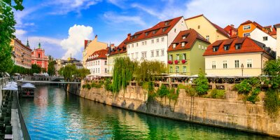 Travel and landmarks of Slovenia - beautiful Ljubljana capital city with charming downtown and canals