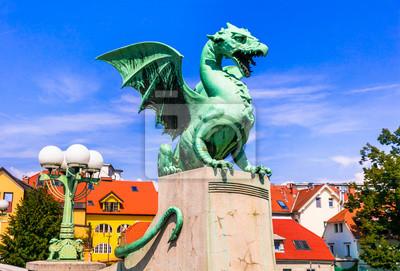 Travel and landmarks of Slovenia - beautiful Ljubljana with famous Dragon's bridge