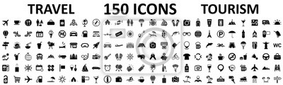 Poster Travel and tourism set 150 icons, vocation signs for web development apps, websites, infographics, design elements – stock vector