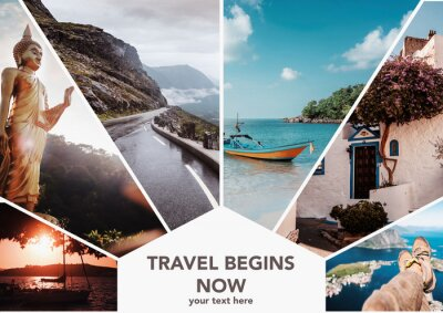 Poster Travel collage. Europe and Asia, vacation adventure concept. Can used for cover design, brochures, flyers. With space for text