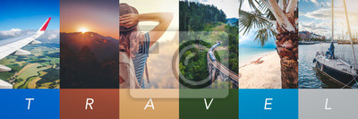 Poster Travel concept background. Summer concept.  Header format with copyspace, vertical stories