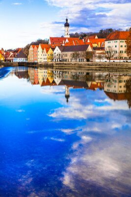 Travel in Bavaria. Germany. Landsberg am Lech - beautiful old town over river Lech