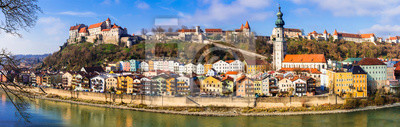 Travel in Germany (Bavaria)-beautiful medieval town Burghausen with longest castle in Europe.