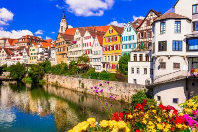 Travel in Germany . Beautiful floral colorful town Tubingen. Baden-wurttemberg