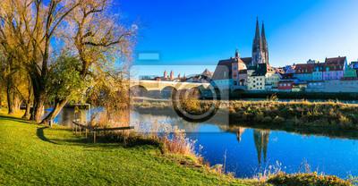Travel in Germany - beautiful town Regensburg over Danube river in Bavaria