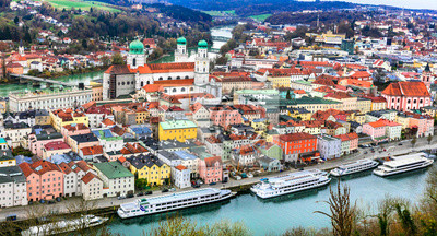 Travel in Germany (boat cruise in Danube river) -Passau, beautiful town in Bavavria