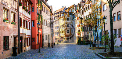 Travel in Germany - charming traditional streets of old town in Nuremberg(Nurnberg)