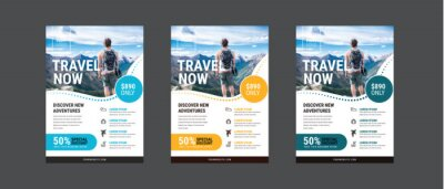 Poster Travel poster or flyer pamphlet brochure design layout space for photo background. Yellow Travel flyer template for travel agency