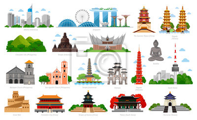 Poster Travel to Asia. Singapore, Indonesia, China and South Korea, Taiwan, Vietnam. Big collection of famous landmarks. Cityscape, buildings and attractions. Vector flat illustration