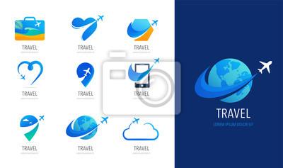 Poster Travel, tourism agency logo design, icons and symbols