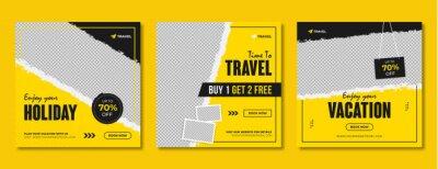 Poster Travel & tourism social media post template design. Summer holiday offer promotion & marketing flyer for online business. Travel sale digital web banner with logo & graphic background.
