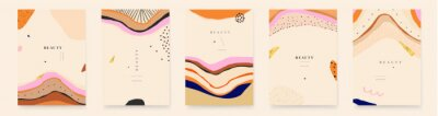 Trendy colorful set of abstract artistic backgrounds. Modern hand drawn vector illustrations.