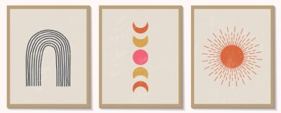 Poster Trendy contemporary set of abstract geometric minimalist composition