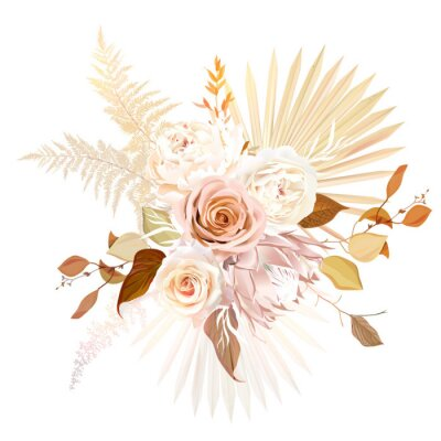 Poster Trendy dried palm leaves, blush pink rose, pale protea, white ranunculus, pampas grass vector