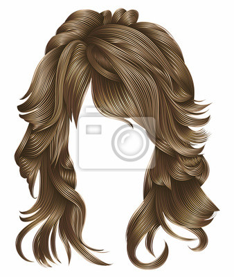 Trendy Frau Lange Haare Blond Farben Schönheit Mode Realistische