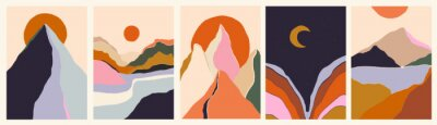Poster Trendy minimalist abstract landscape illustrations. Set of hand drawn contemporary artistic posters.