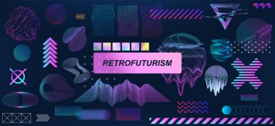 Poster Trendy retrofuturistic holographic collection in vaporwave style in 80s-90s. Old wave cyberpunk concept. Shapes design elements for disco genre, retro party or themed event. Neon shapes with glitch
