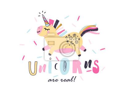 Trendy unicorn slogan for t shirt. Vector illustration. Modern style print for kids.