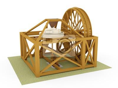 Poster: Treppenmühle, leonardo da vinci; codex atlanticus 0045r