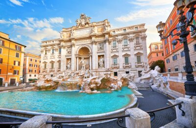 Poster Trevi Fountain in Rome, Italy. Ancient fountain. Roman statues at piazza in old medieval city among traditional italian houses and street lamps. Famous landmark. Touristic destination for vacation.