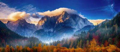 Poster Triglav mountain peak at sunrise