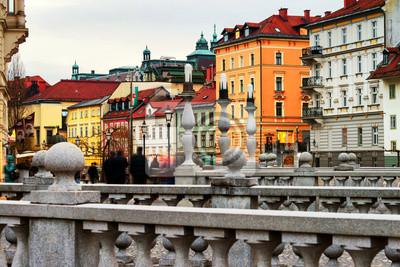 Triple Bridge with famous old buildings in the city center of Ljubljana, Slovenia