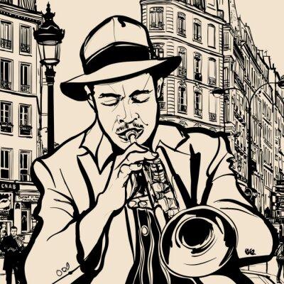Poster Trompeter auf einer Stadtlandschaft Hintergrund