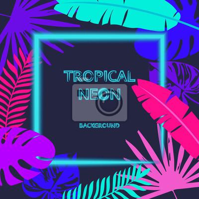 Poster Tropic verlässt den Hintergrund mit einem Neonlichtrahmen für Ihren Text. Tropischer Flyer mit exotischen Palmblättern und Pflanzen. Ein kreatives Modell von Blumen und Blättern mit einer Papierkarte.