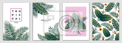Poster Tropical Brochure Design Layout Template in A4 size, greeting cards. Frame with tropic leaves. Ideal for party poster, greeting card, banner or invitation. Vector Illustration