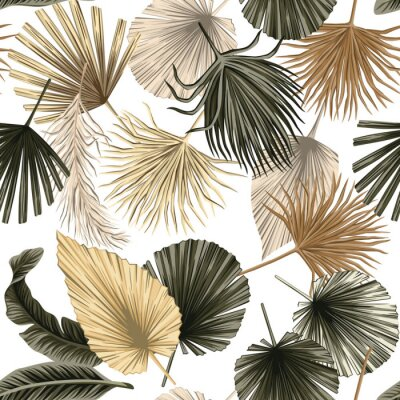 Poster Tropical floral dried palm leaves seamless pattern white background. Exotic jungle wallpaper.