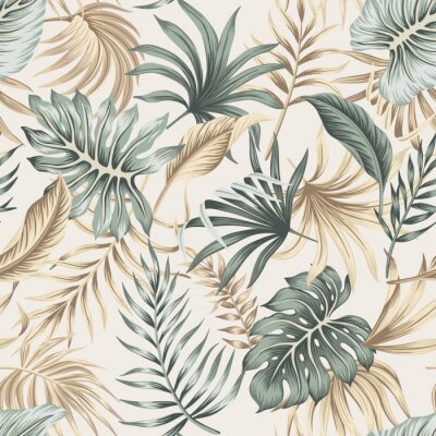 Poster Tropical floral foliage palm leaves seamless pattern beige background. Exotic jungle wallpaper.