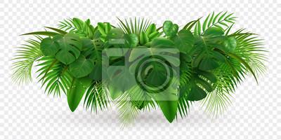 Poster Tropical Leaves Bush Composition