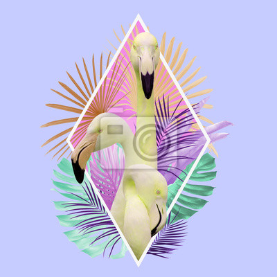 Poster Tropical leaves flamingo design in light pink, golden, turquoise and violet colors, can be used as background, wallpaper