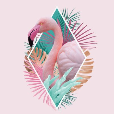 Poster tropical leaves flamingo design in light pink, turquoise and golden colors, can be used as background, wallpaper