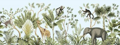 Poster Tropical vintage botanical landscape, palm tree, banana tree, plant, palm leaves, giraffe, monkey, elephant floral seamless border blue background. Jungle animal wallpaper.