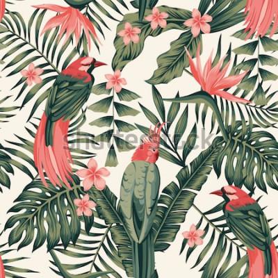 Poster Tropische Blätter, Blumen Frangipani, Paradiesvögel, Papageienzusammenfassung färbt nahtloses realistisches Vektorbild
