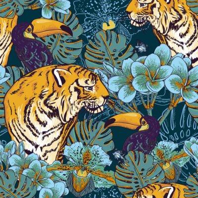 Poster Tropische Blumen nahtlose Hintergrund mit Tiger