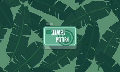 Poster Tropische Palmblätter, Dschungel Blatt nahtlose Vektor floralen Muster Auf einem hellgrünen Hintergrund