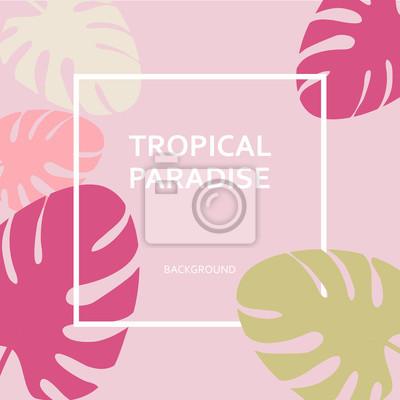 Poster Tropische Paradies Papier Etiketten auf dem Hintergrund der Blätter von Palmen. Modische Design tropischen Blätter gesetzt. Baum Zweig des Dschungels. Vintage Blumenillustration. Exotische Blätter von