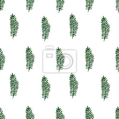 Poster Tropischer Hintergrund mit Palmblättern. Nahtlose floralen Muster nahtlose Muster. Blumen stilvollen Hintergrund